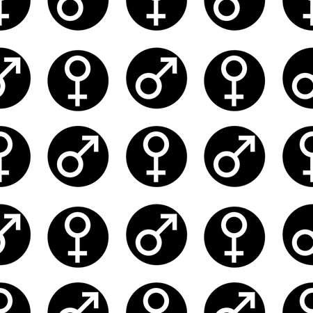 Naadloos Patroon Geslachtssymbolen Geslacht Man Platte Symbolen