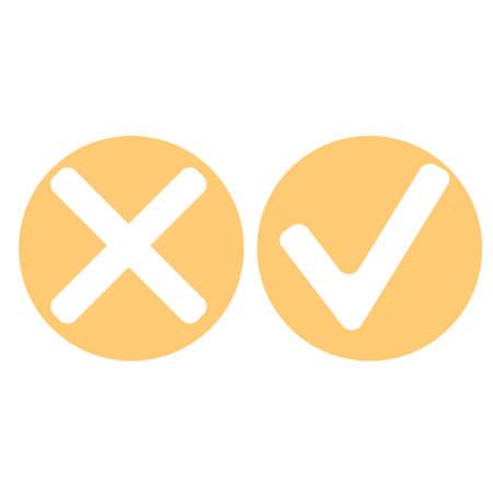 Flat check mark icons in orange circle. Vector Illustration