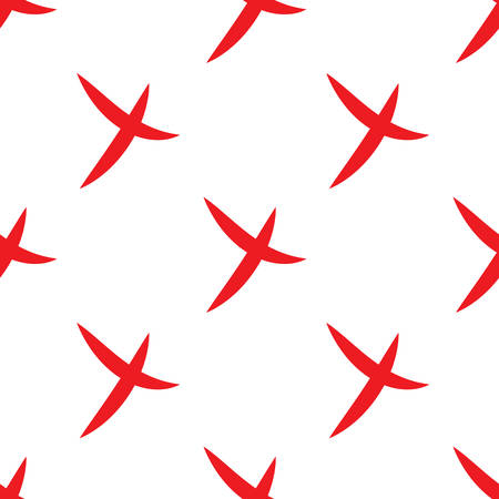 Seamless pattern of check mark icons simple on white background. Red cross. Vector Illustration