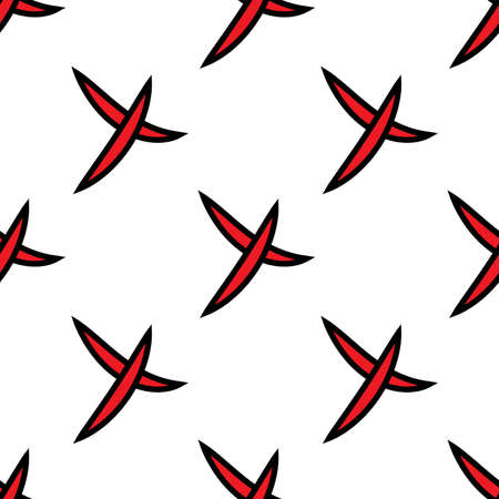 Seamless pattern of check mark icons simple on white background. Red cross with black stroke. Vector