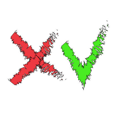Stylized check mark icons. Red and green color black stroke. Vector