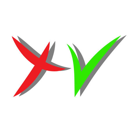 verify: Check mark icons with shadow. Red and green color. Vector Illustration
