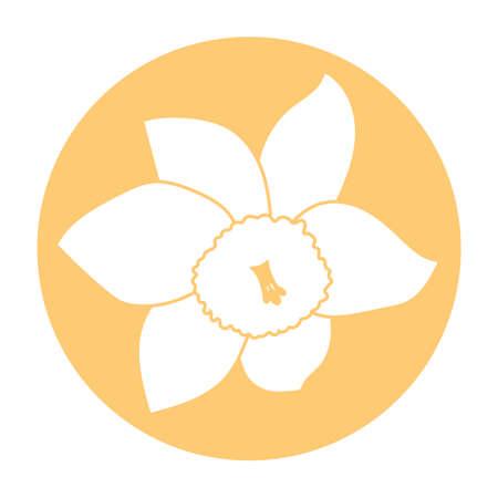 Spring flower icon. White narcissus flower. Orange round circle flat icon. Vector