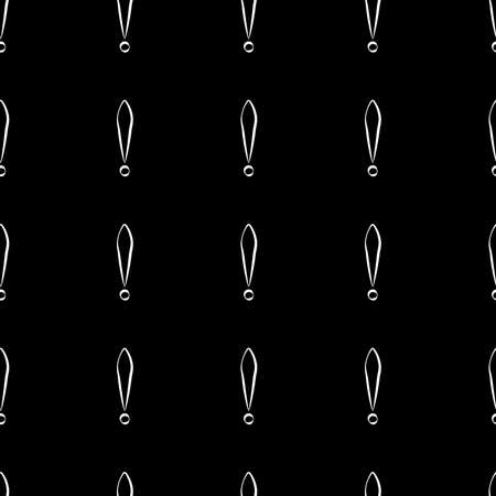 Seamless pattern of exclamation marks colored black with white stroke black background. Same sizes. Vector