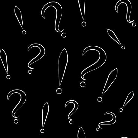 Seamless pattern with question and exclamation signs. Different sizes. Black with white store and black background. Vector