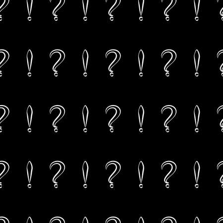 Seamless pattern with question and exclamation signs. Same sizes small. Black with white store and black background. Vector Illustration