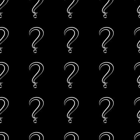 Seamless pattern with question marks. Same sizes. Black marks with white stroke on black background. Vector Illustration