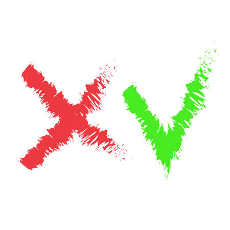 Stylized check mark icons. Red and green color. Vector