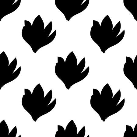 Beautiful seamless pattern with hand drawn decorative crocus flowers. Black flowers of same sizes. Vector