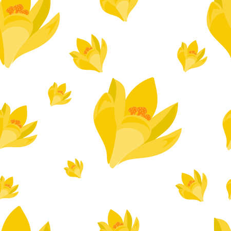 Beautiful seamless pattern with hand drawn decorative crocus flowers. Yellow flowers of different sizes. Vector