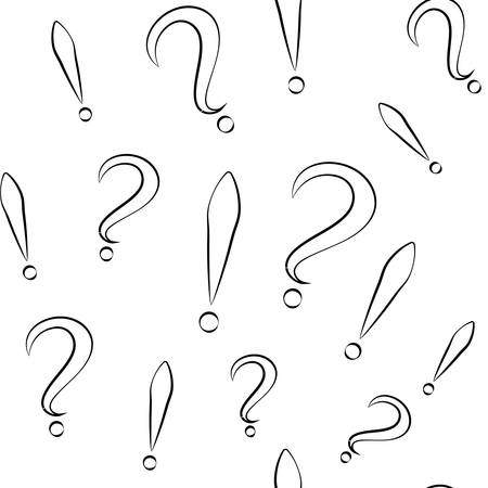 Seamless pattern with question and exclamation signs. Different sizes. White with black store. Vector
