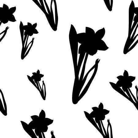 Seamless pattern. Grass with black narcissus flowers different sizes isolated on white. Vector Ilustrace