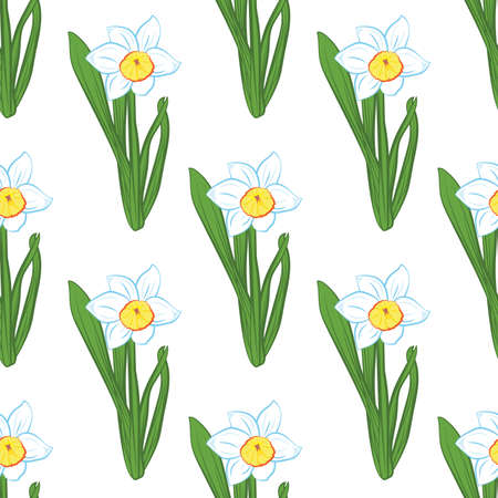 Seamless pattern. Green grass with blue narcissus flowers same sizes isolated on white. Vector Ilustrace