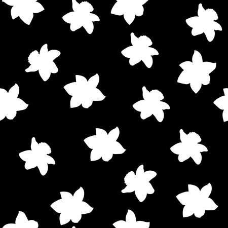 Seamless pattern. White narcissus flowers small same sizes isolated on black background. Vector