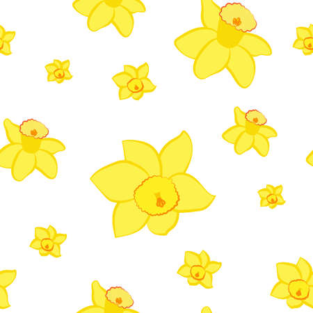 Seamless pattern. Yellow narcissus flowers different sizes isolated on white. Vector Ilustrace