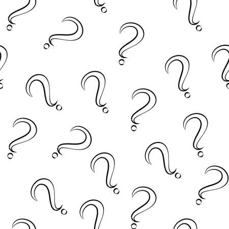 Seamless pattern with question marks. Same sizes small. White marks with black stroke. Vector
