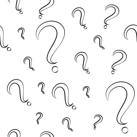 Seamless pattern with question marks. Different sizes. White marks with black stroke. Vector