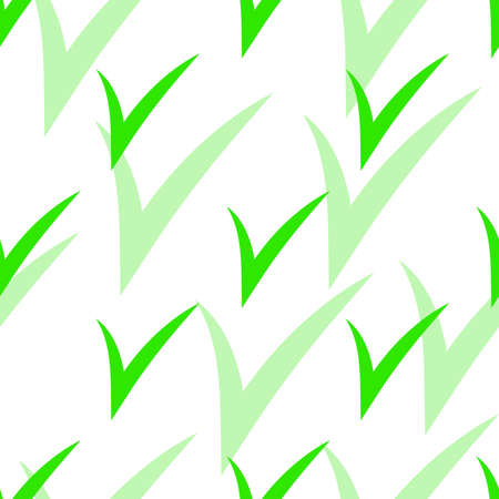 Seamless pattern with Check Marks with green shadow. Green color. Vector Ilustrace
