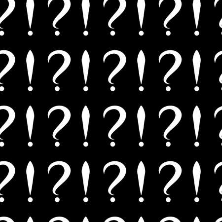 Seamless pattern with question and exclamation signs. Same sizes. Black background. Vector Ilustrace