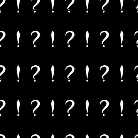 Seamless pattern with question and exclamation signs. Same sizes small. Black background. Vector Illustration