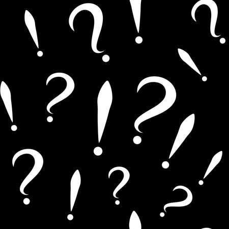 Seamless pattern with question and exclamation signs. Different sizes. Black background. Vector