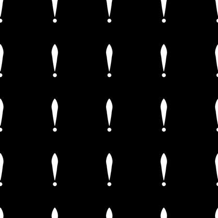 Seamless pattern of exclamation marks colored white black background. Same sizes. Vector Illustration
