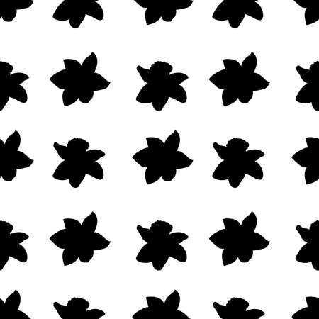 Seamless pattern. Black narcissus flowers same sizes isolated on white. Vector