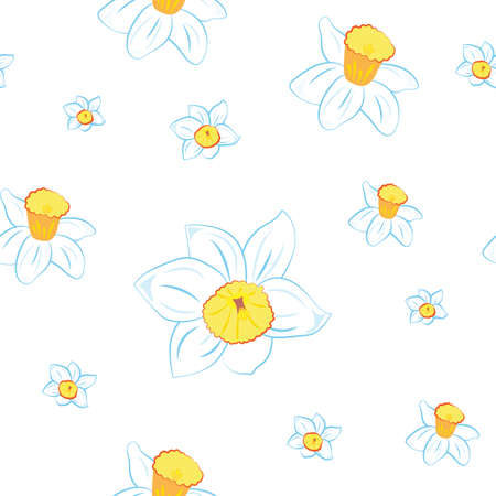 Seamless pattern. Blue narcissus flowers different sizes isolated on white. Vector Illustration