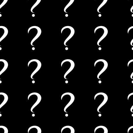 Seamless pattern with question marks. Same sizes. Black background. Vector