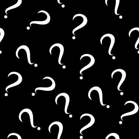 Patrón transparente con signos de interrogación. Los mismos tamaños son pequeños. Fondo negro. Vector