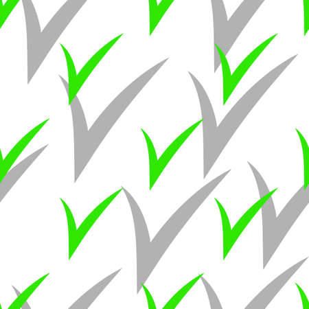 Seamless pattern with Check Marks with shadow. Green color. Vector Illustration