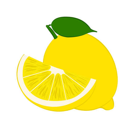 A Vector illustration of fresh lemons with leaves.
