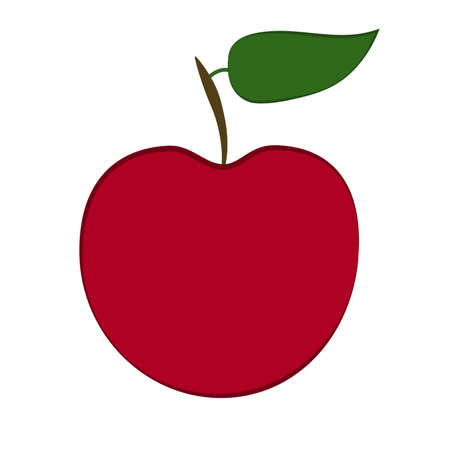 Vector red apple with green leaf and shadow
