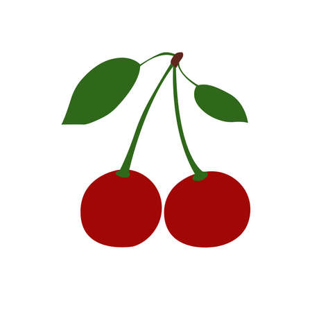 Cherry berry with leaves. Collection of different fresh cherry berry. Ilustrace