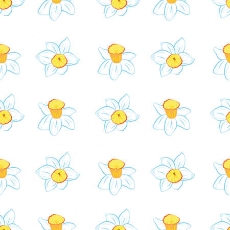 Seamless pattern. Blue narcissus flowers same sizes isolated on white. Vector