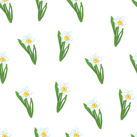 Seamless pattern. Green grass with small blue narcissus flowers isolated on white. Vector