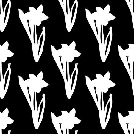 Seamless pattern. Grass with white narcissus flowers same sizes isolated on black background. Vector