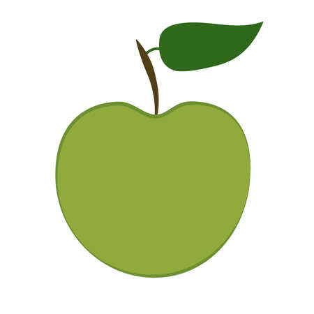 Vector of green apple with green leaf Ilustrace