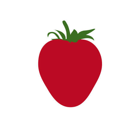 Beautiful red strawberry vector illustration. Flat design. White background