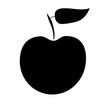 Black apple with white stroke on white background. Apple silhouette. vector illustration