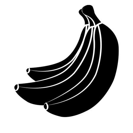 Vector bananas. Bunches of black banana fruits with white stroke isolated on white background, collection of vector illustrations. Bananas silhouette Ilustrace