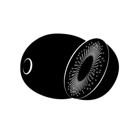 Flat icon kiwi and slice of kiwi. Black with white stroke. Kiwi silhouette. Vector illustration.