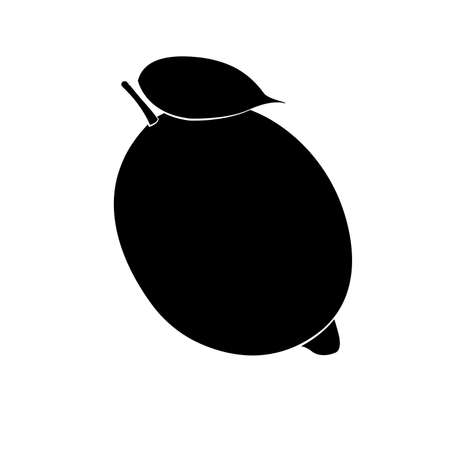 Vector illustration of black lemon silhouette and leaf with white stroke.