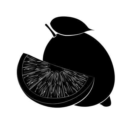 Vector illustration of black lemon silhouette with white stroke. Flat design Ilustrace