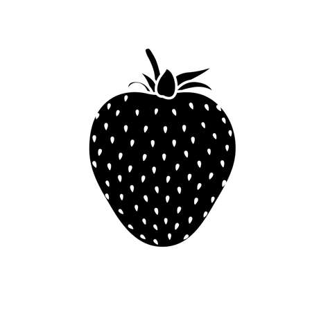Beautiful black strawberry silhouette with white stroke. Vector illustration. White background Ilustrace