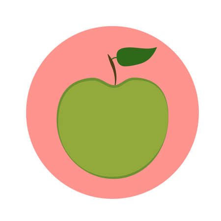 Green apple with green leaf in pink circle. vector illustration