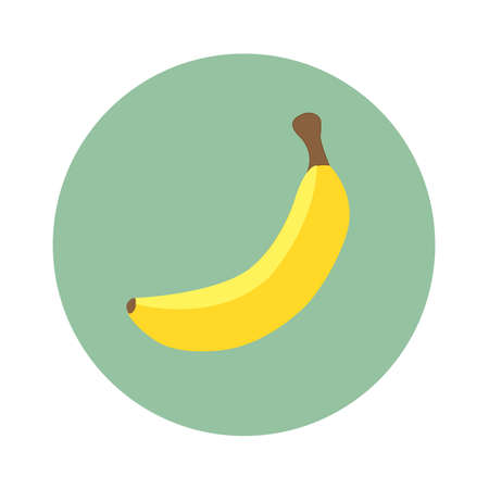 One yellow banana in turquoise circle. Flat design. Vector illustration