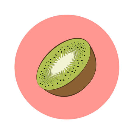 Slice of kiwi fruit in pink circle. Flat design. Vector illustration.