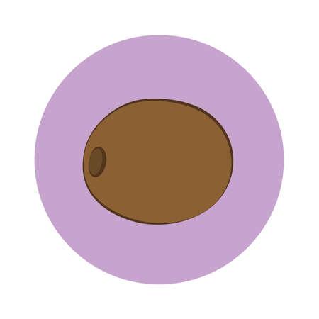 Icon of brown kiwi in purple circle. Flat design. Vector illustration. Ilustrace