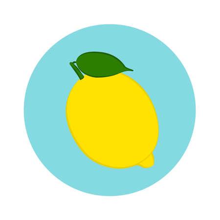 Fresh lemon fruit in blue circle. flat design. vector illustration
